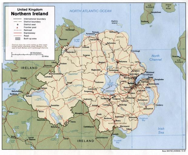 Mapa Politico de Irlanda del Norte, Reino Unido