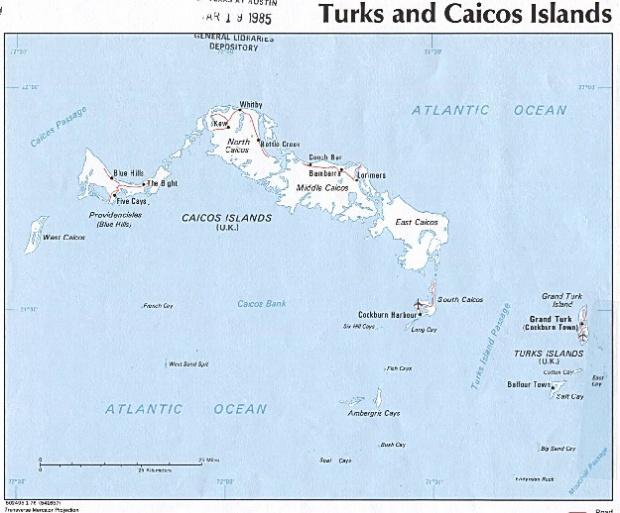 Mapa Politico de Islas Turcos y Caicos