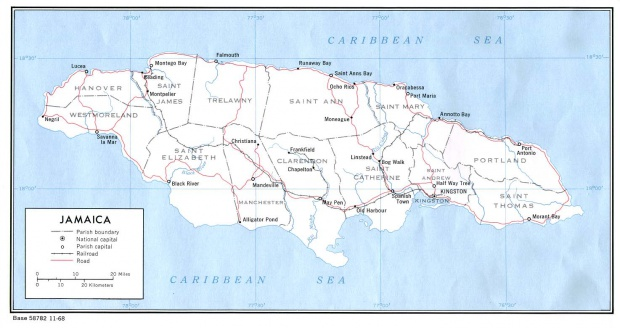 Mapa Político de Jamaica
