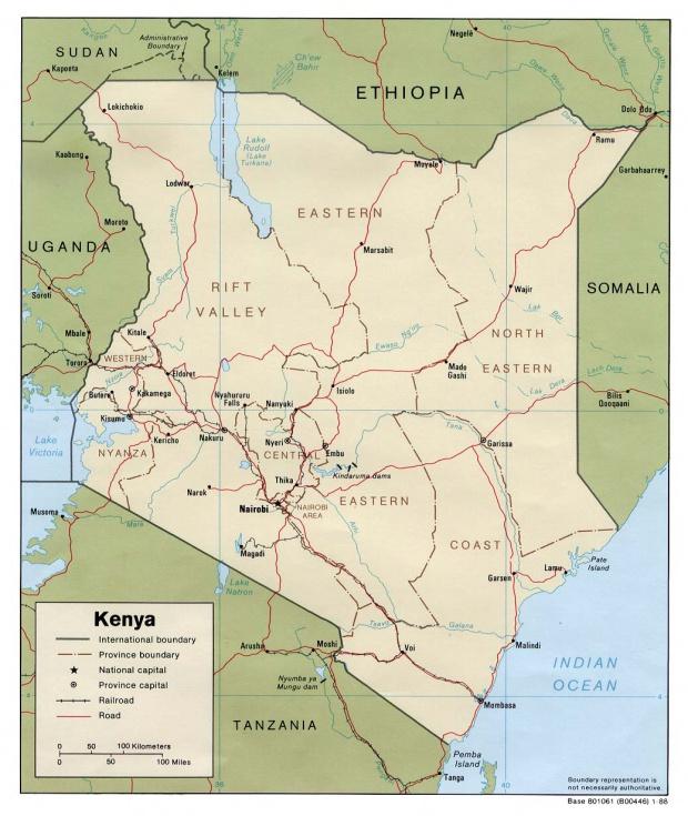 Mapa Politico de Kenia