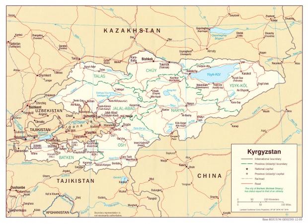 Mapa Politico de Kirguistán