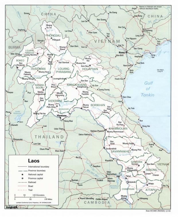 Mapa Politico de Laos