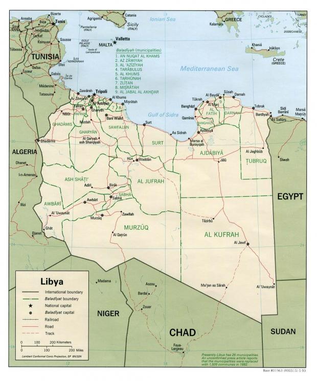 Mapa Politico de Libia