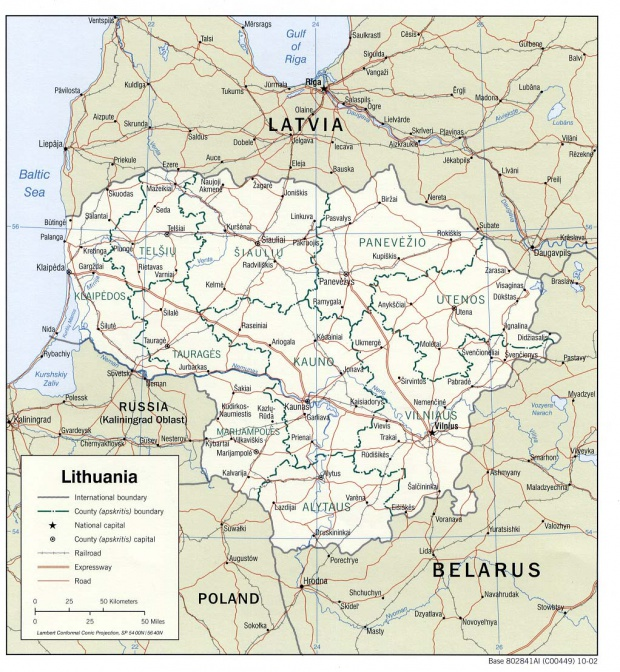 Lithuania Political Map