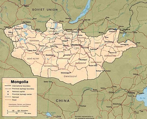 Mapa Politico de Mongolia