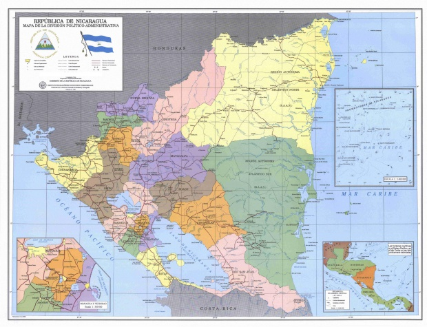 Nicaragua Administrative Political Division Map