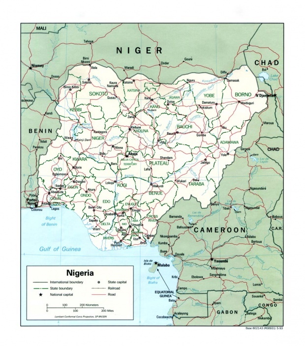 Mapa Politico de Nigeria