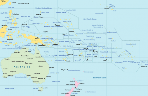 Oceania political map