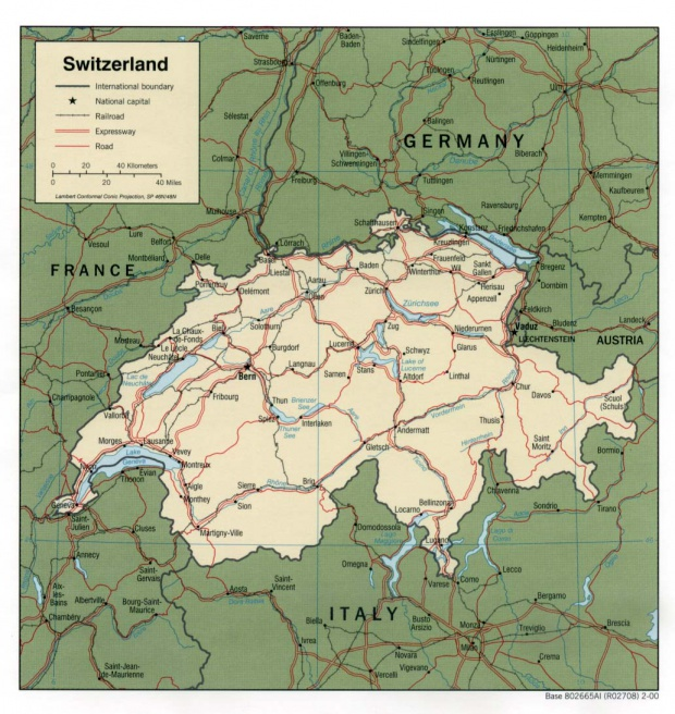 Mapa Politico de Suiza