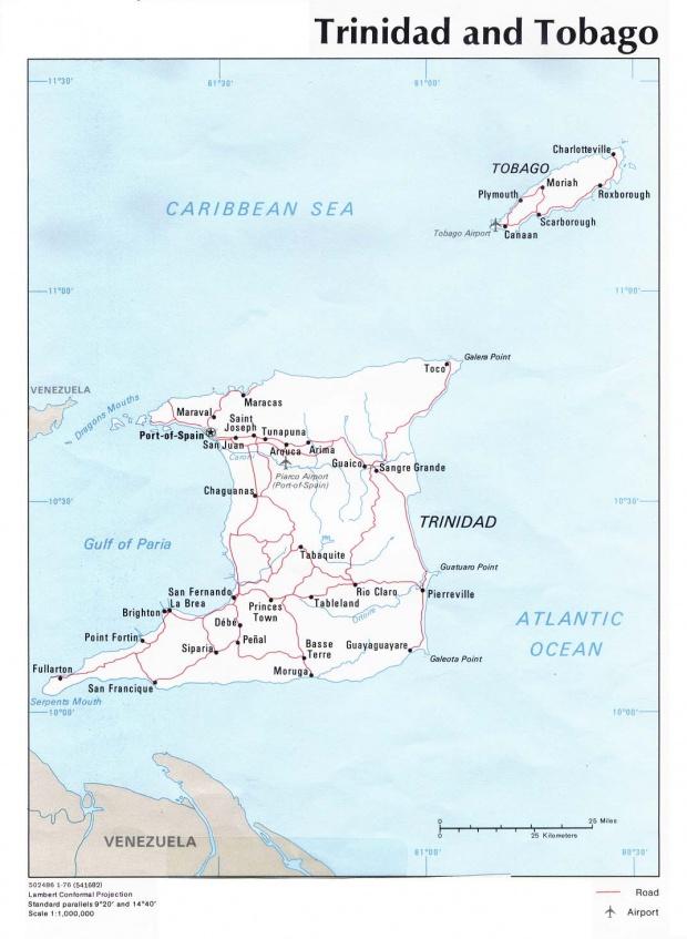 Mapa Político de Trinidad y Tobago