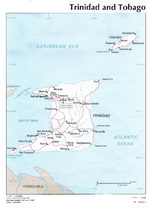 Mapa Politico de Trinidad y Tobago