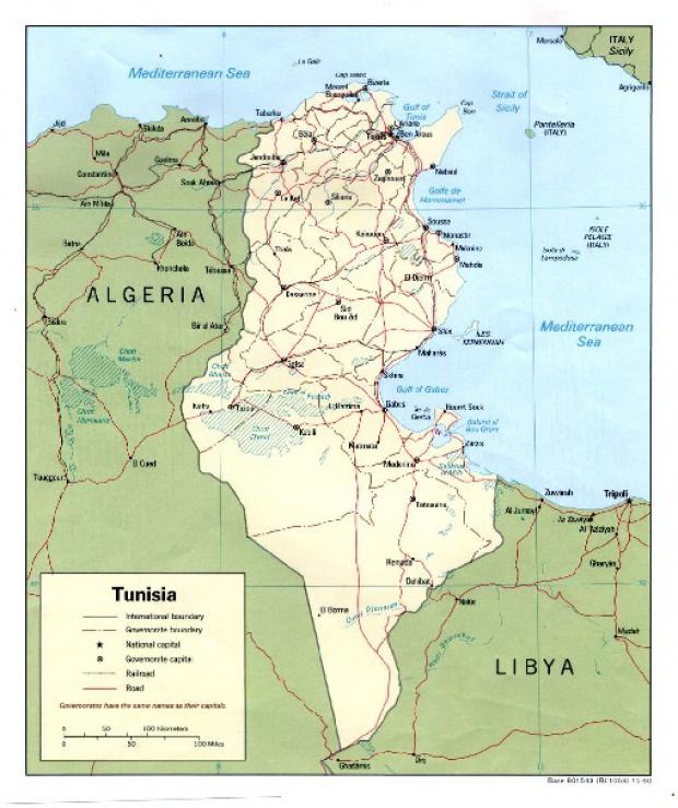 Mapa Politico de Túnez