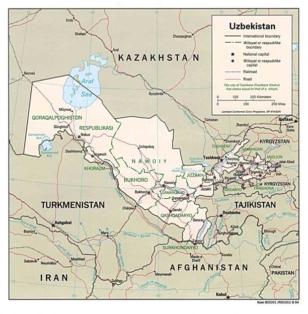 Mapa Politico de Uzbekistán