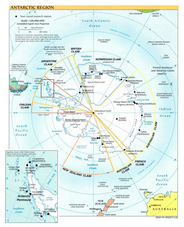 Mapa Politico de la Antártida 2002