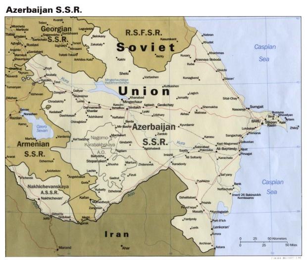 Mapa Politico de la Ex República Socialista Soviética de Azerbaiyán