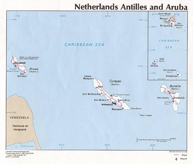 Mapa Politico de las Antillas Neerlandesas y Aruba