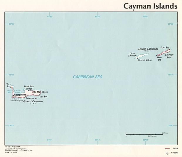Mapa Político de las Islas Caimán