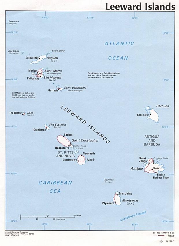 Leeward Islands Political Map