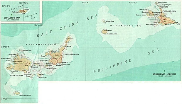Mapa Politico de las Islas de Sakishima y Yonaguni, Japón