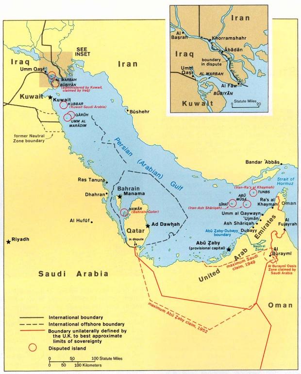 Mapa Politico del Golfo Pérsico