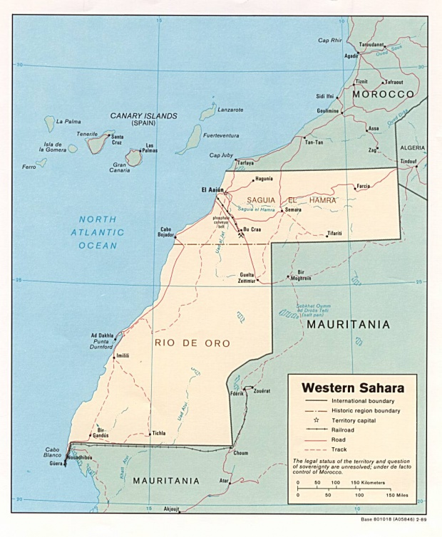 Mapa Politico del Sahara Occidental