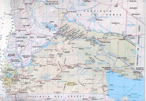 Mapa Provincia Rio Negro, Argentina