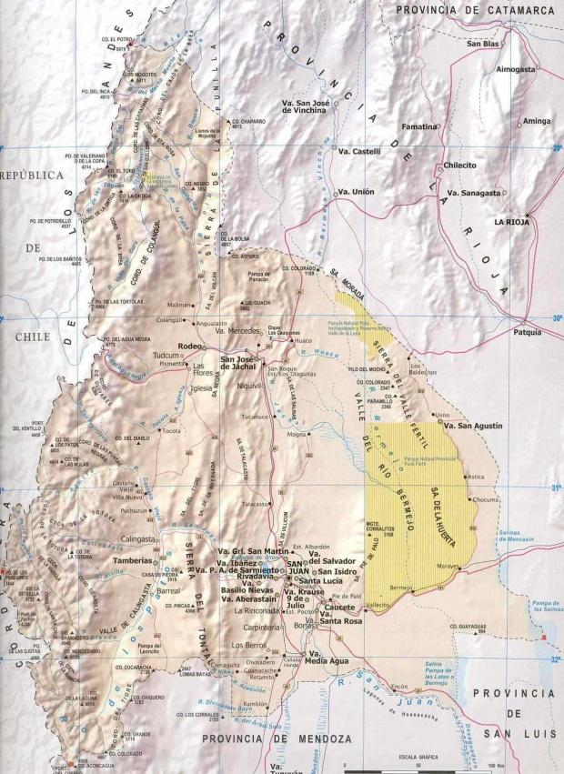 Mapa Provincia San Juan, Argentina