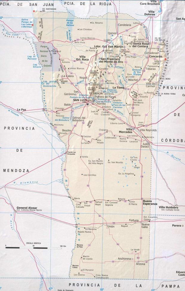 Mapa Provincia San Luis, Argentina