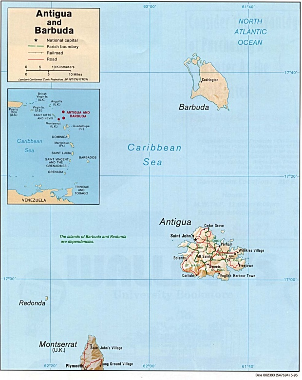 Antigua and Barbuda Shaded Relief Map