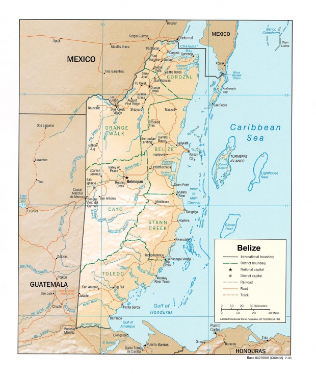 Mapa Relieve Sombreado de Belice