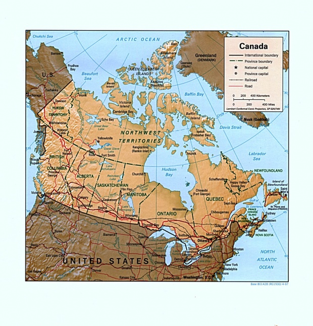 Canada Shaded Relief Map