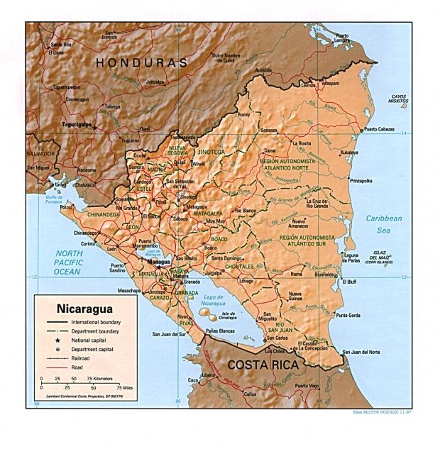 Mapa Relieve Sombreado de Nicaragua