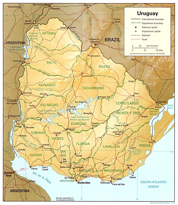 Mapa Relieve Sombreado de Uruguay