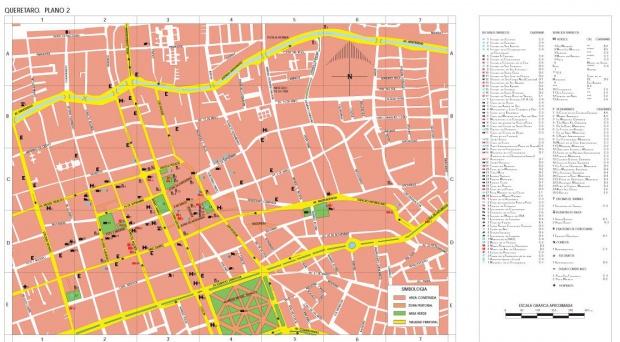 Mapa Santiago de Querétaro (Centro), Querétaro, Mexico