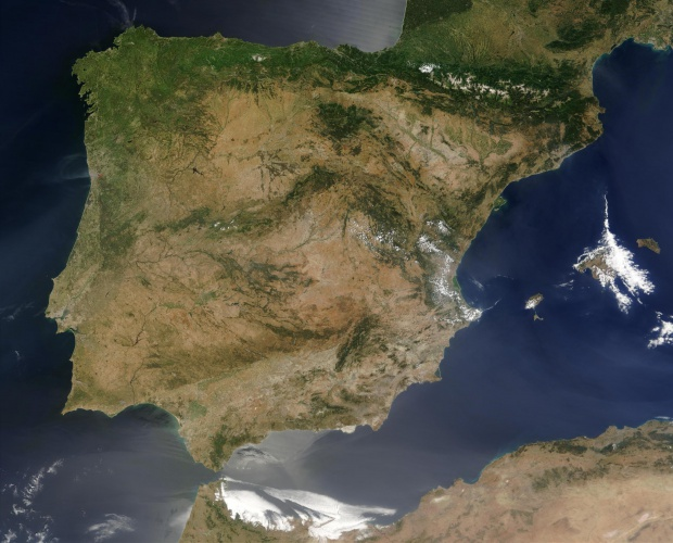 Spain satellite map