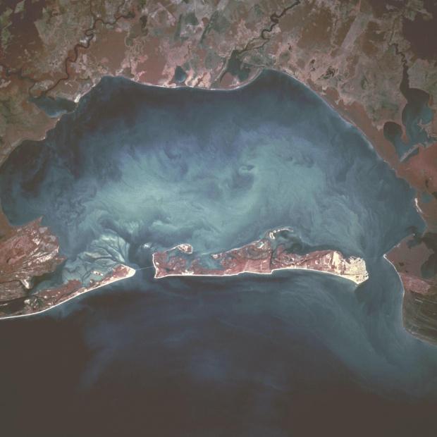Mapa Satelital de la Isla del Carmen, Laguna de Términos, Mexico
