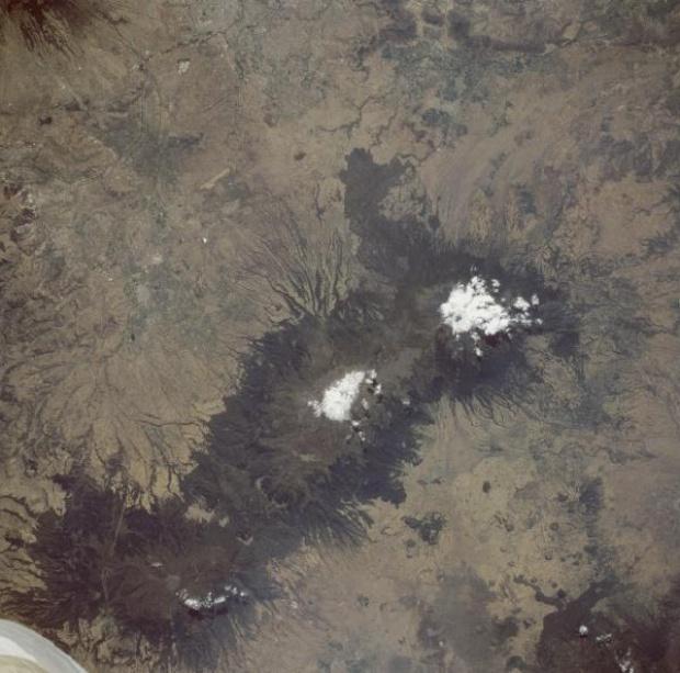 Mapa Satelital de los Volcanes Popocatépetl e Iztaccihuatl, Mexico