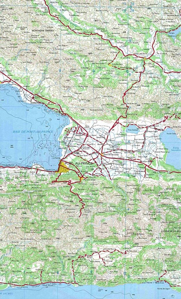 Mapa Topográfico Área Puerto Príncipe, Haití