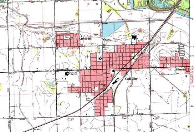 Coal City Topographic Map, Illinois, United States