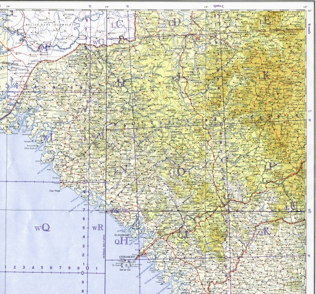 Central and Western Guinea Topographic Map 1964