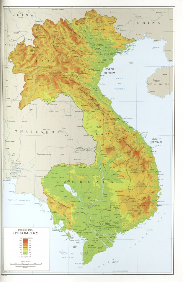Indochina Hypsometry Topographic Map