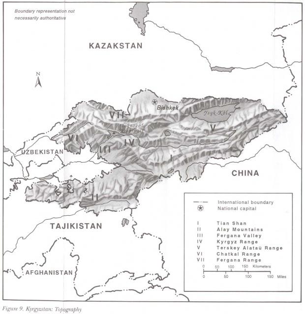 Mapa Topográfico de Kirguistán