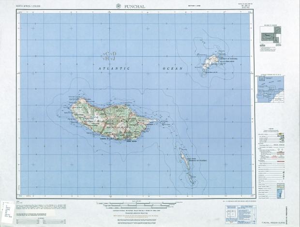 Mapa Topográfico de Madeira, Portugal