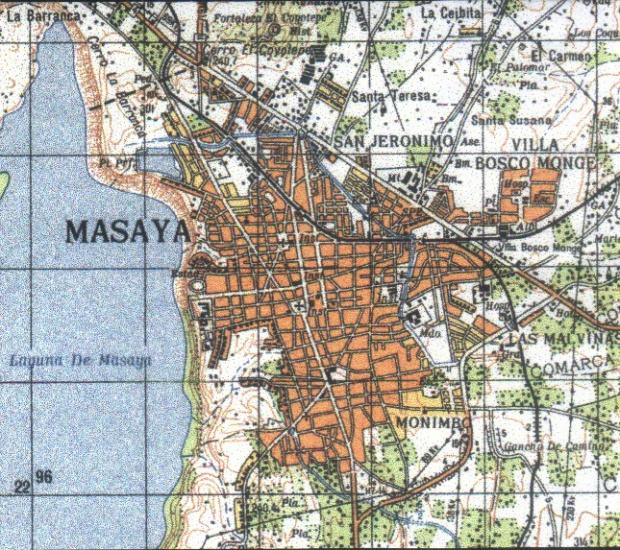 Mapa Topográfico de Masaya, Nicaragua