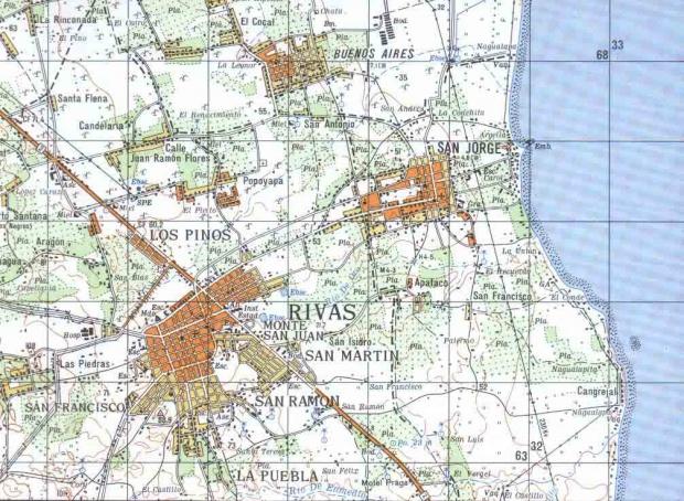 Mapa Topográfico de Rivas, Rivas, Nicaragua