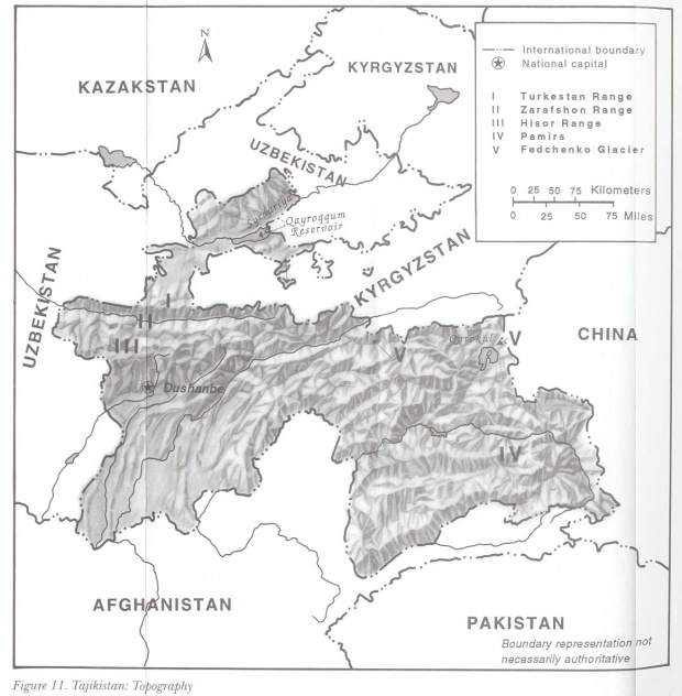 Mapa Topográfico de Tayikistán