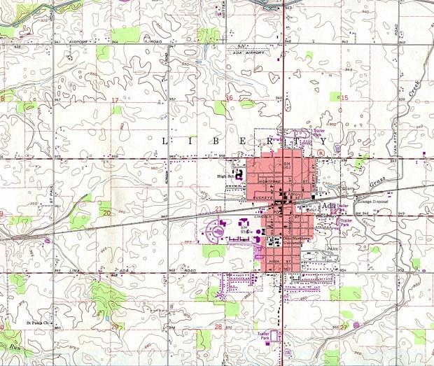 Mapa Topográfico de la Ciudad de Ada, Ohio, Estados Unidos
