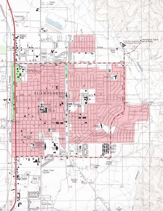 Mapa Topográfico de la Ciudad de Alamogordo, Nuevo México, Estados Unidos