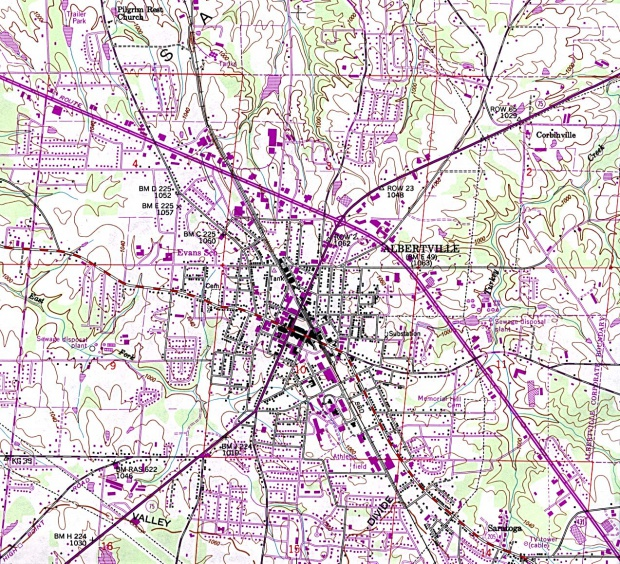 Albertville Topographic City Map, Alabama, United States