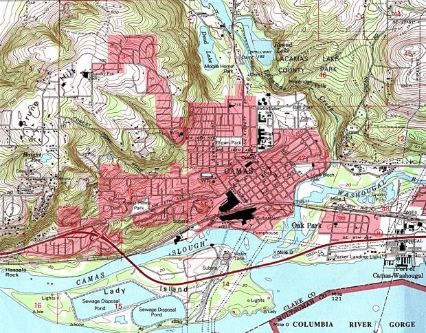 Mapa Topográfico de la Ciudad de Camas, Washington, Estados Unidos
